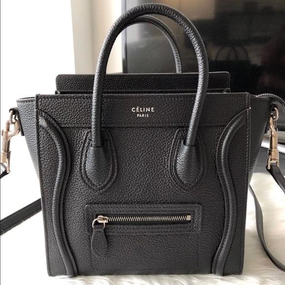 bff09ccb7168 Celine Black Nano Luggage Drummed Leather Bag